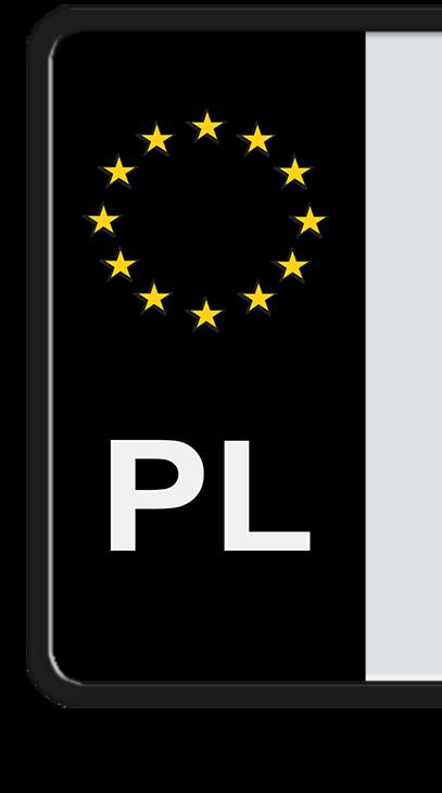 Czarna PL na tablicy rejestracyjnej